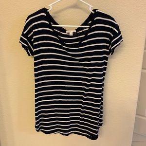 Navy and white Striped Gap maturity shirt